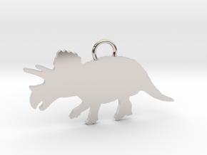 Triceratops necklace Pendant in Platinum