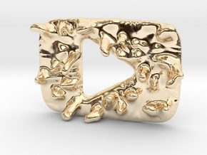 Distorted YouTube Play Button Award in 14K Yellow Gold