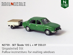 SET Skoda 105 L + HP 350.01 (N 1:160) in Smooth Fine Detail Plastic