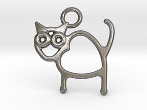 Cat Pendant in Polished Nickel Steel