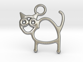 Cat Pendant in Natural Silver