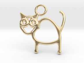 Cat Pendant in 14k Gold Plated Brass