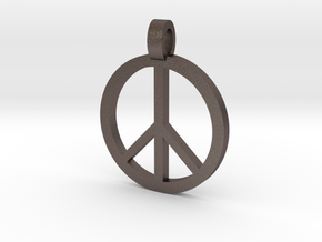 Peace Symbol Pendant in Polished Bronzed Silver Steel