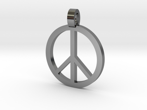 Peace Symbol Pendant in Fine Detail Polished Silver