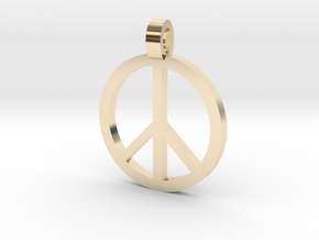 Peace Symbol Pendant in 14k Gold Plated Brass