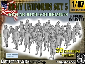 1-87 Army Modern Uniforms Set5 in Smooth Fine Detail Plastic