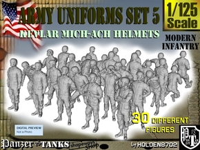 1-125 Army Modern Uniforms Set5 in Smooth Fine Detail Plastic