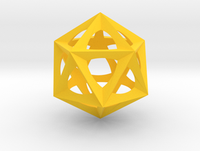 0577 Icosohedron (E, 2.5 cm) in Yellow Strong & Flexible Polished