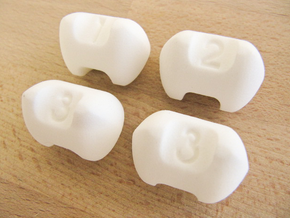 Three sided dice - Set of 4 in White Strong & Flexible Polished
