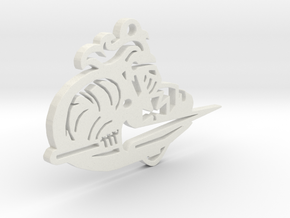 Lancer Keychain or Ornament in White Natural Versatile Plastic: 15mm