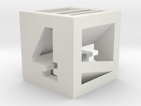 Photogrammatic Target Cube 4 in White Natural Versatile Plastic