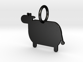 Cow Keychain in Matte Black Steel