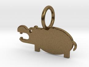 Hippopotamus Keychain in Natural Bronze