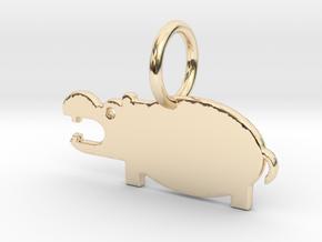 Hippopotamus Keychain in 14k Gold Plated Brass