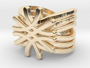 Quantum Wave Ring in 14k Gold Plated Brass