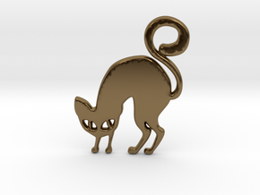 Halloween Cat in Polished Bronze