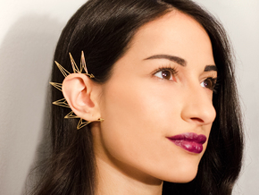 Brass triangles earcuff in Natural Brass