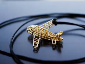Aeroplane pendant airplane in Natural Brass (Interlocking Parts)