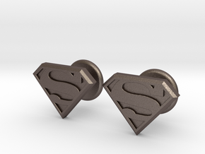 Man of Steel Cufflinks in Polished Bronzed Silver Steel