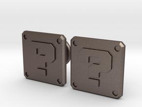 Question Block Cufflinks (Modern) in Polished Bronzed Silver Steel
