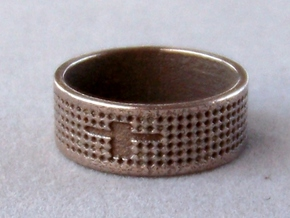 Textured Cross Ring Ring Size 10 in Polished Bronzed Silver Steel