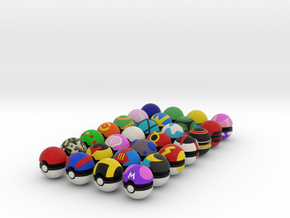 Pokeballs (Complete Set of 28) in Full Color Sandstone