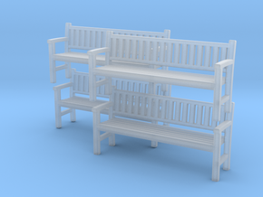 Park Bench-v2 - UK N Scale X 4 in Smooth Fine Detail Plastic