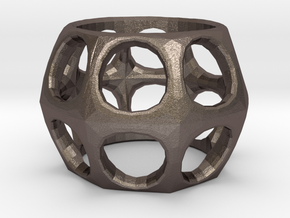 Prime Ring - Holes in Polished Bronzed Silver Steel