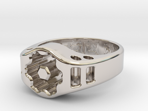 US12.5 Ring XIX: Tritium (Silver) in Rhodium Plated Brass