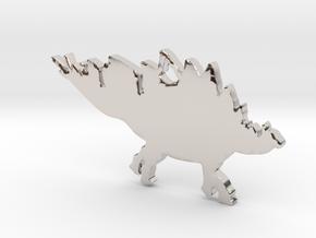 Stegosaurus necklace Pendant 2 in Rhodium Plated Brass