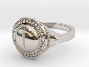 Ring of the Evil Eye in Rhodium Plated Brass: 6 / 51.5