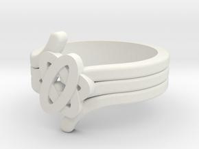 Quantum Wave Ring 2 in White Natural Versatile Plastic