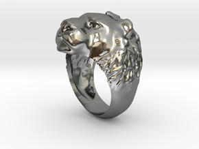 Ring 002 lion in Polished Silver
