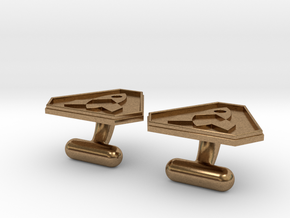 Cufflink in Natural Brass