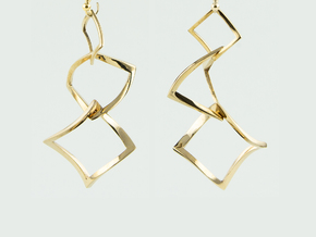 Twisted squares earrings in Polished Bronze (Interlocking Parts)