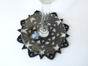Mandala Coaster in Black Natural Versatile Plastic
