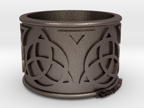 Celtic Ring Bene4 in Polished Bronzed Silver Steel