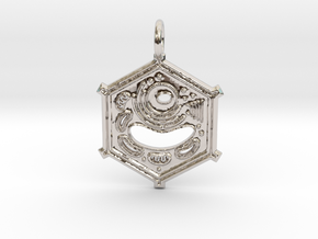 Plant Cell Pendant in Rhodium Plated Brass