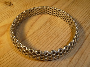 Hex Bangle in Polished Bronze Steel