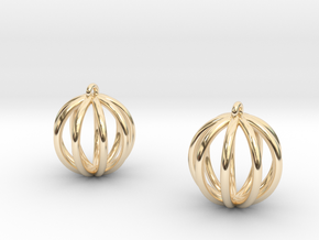 Small globe earrings in 14k Gold Plated Brass