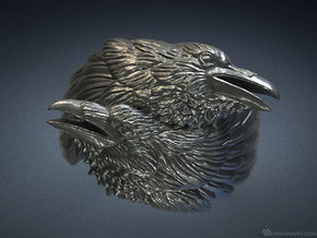 Two ravens ring in Polished Silver