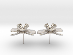 Orchid Earrings in Rhodium Plated Brass