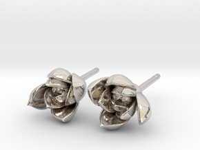Succulent No. 1 Stud Earrings in Rhodium Plated Brass