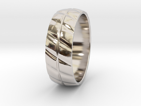 Grooved Mens' Ring in Platinum