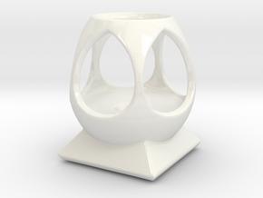 """Mystic Altar Oil Lamp """"Phi"""" in Gloss White Porcelain"""