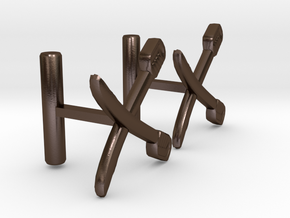 Saber Cufflinks in Polished Bronze Steel
