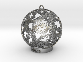 Aves Ornament for lighting in Natural Silver