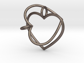 Two Hearts Interlocking in Polished Bronzed Silver Steel
