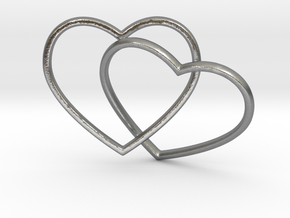 Two Hearts Interlocking Pendant in Natural Silver (Interlocking Parts)