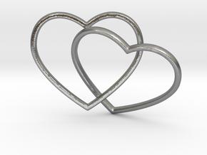 Two Hearts Interlocking Pendant in Natural Silver (Interlocking Parts)
